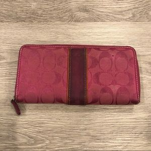 Coach Canvas & Leather Printed Zip Around Wallet